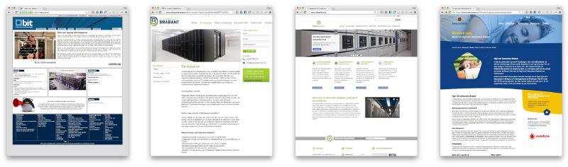 Screenshots van websites van datacenter
